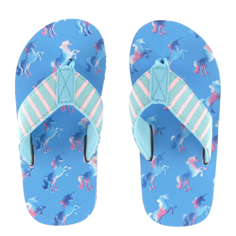 Rainbow Unicorns Flip Flops Sizes 7-13