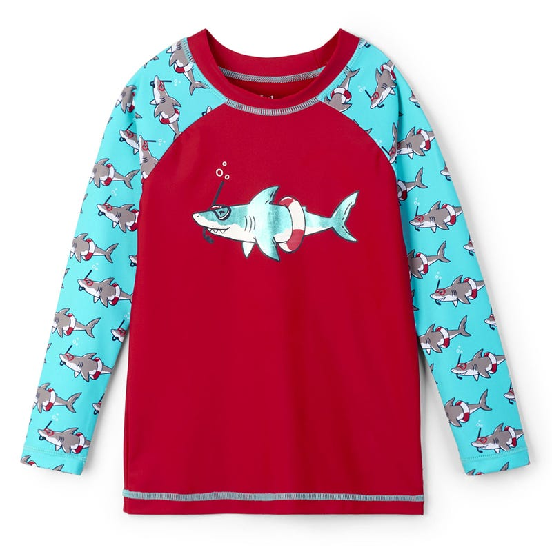 Snorkeling Sharks Long Sleeve Rashguard 2-7y