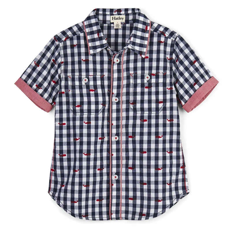 Tiny Whales Short Sleeve Button Down Shirt 2-8y