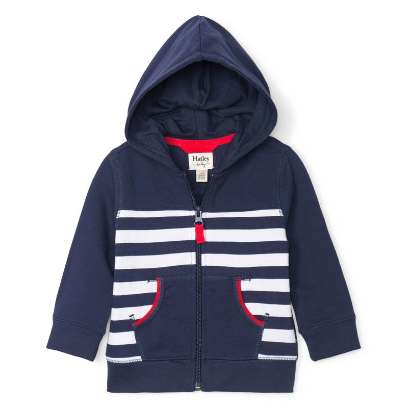 Boats Striped Zip Hoodie 3-24m