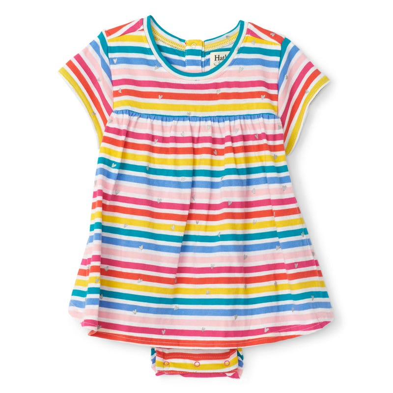 Unicorn Striped Dress 3-24m
