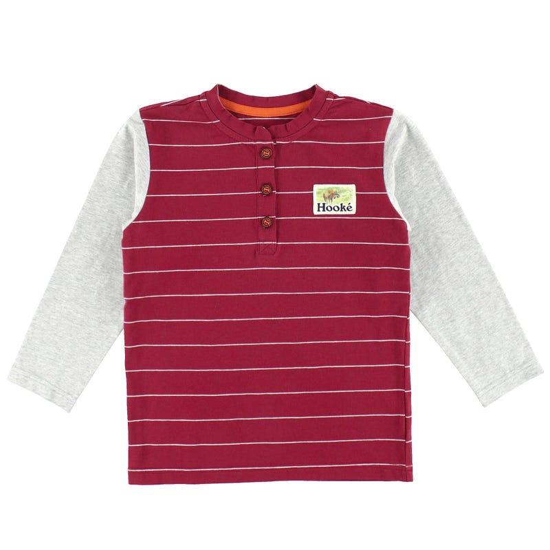 T-Shirt Henley Rayé Hooké 2-14ans
