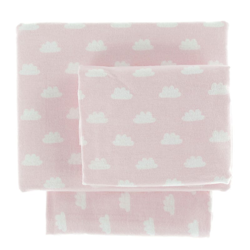 Ensemble Draps Flanelle Lit Simple - Nuages