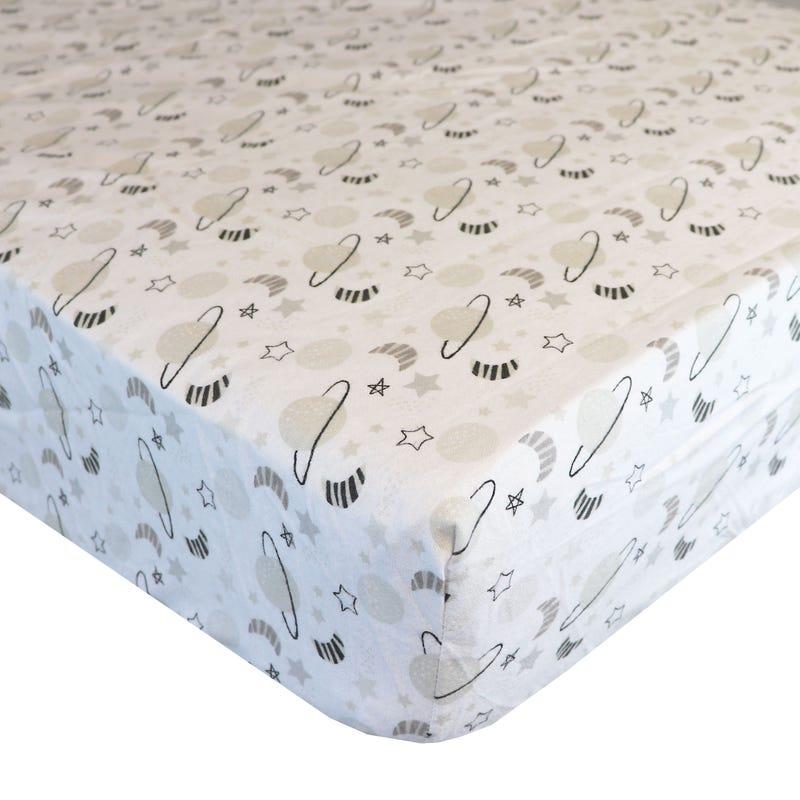 Flannel Fitted Crib Sheet - Galaxy
