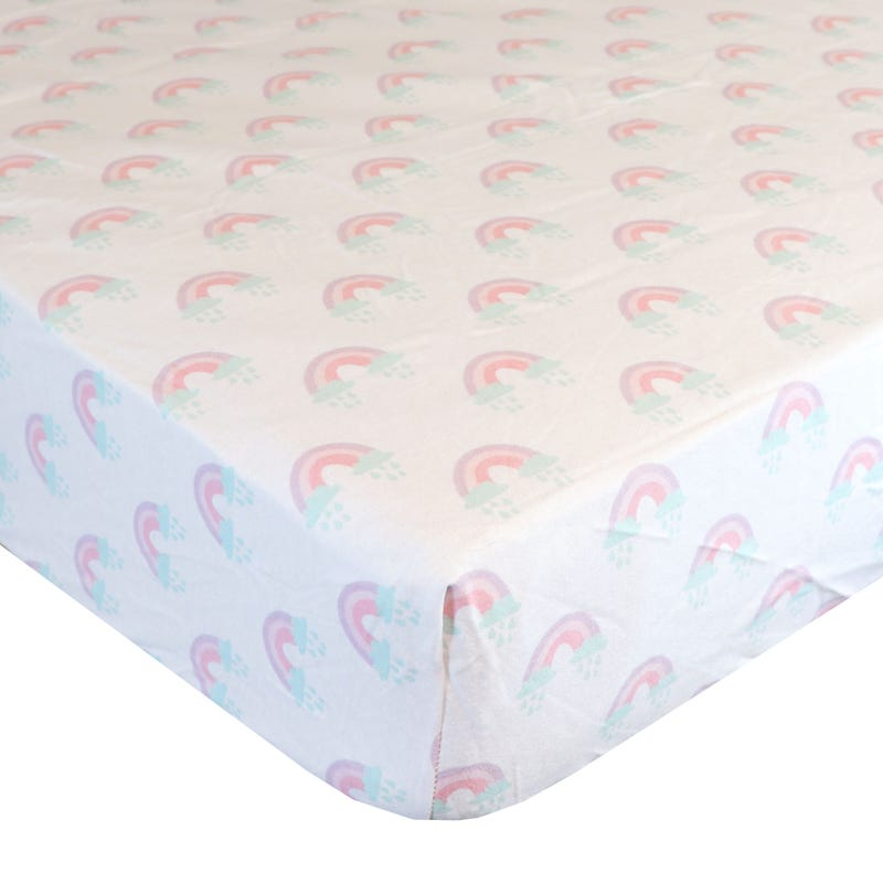 Flannel Fitted Crib Sheet- Rainbow