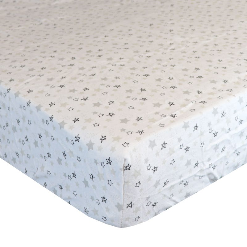 Flannel Fitted Crib Sheet - Stars