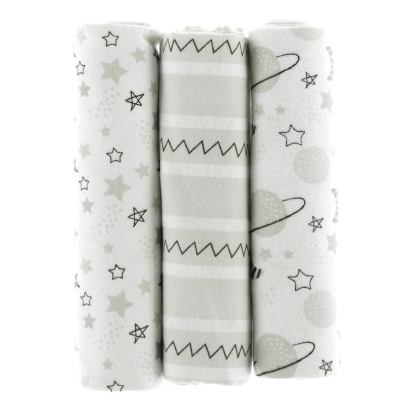 3-Pack Flannel Blankets - Galaxy