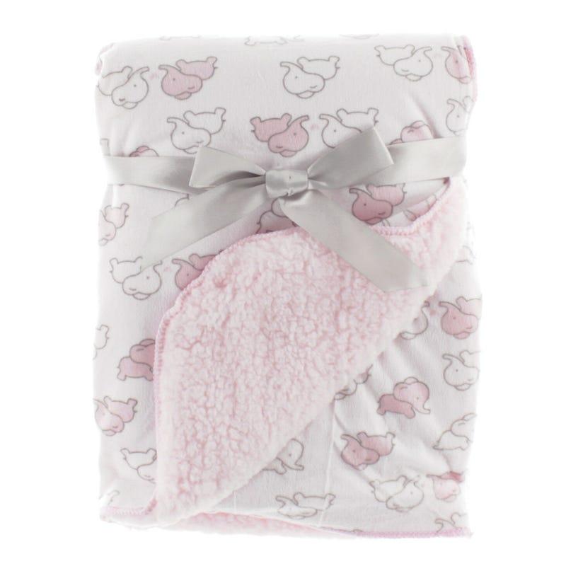 Blanket Pink Grey Elephants