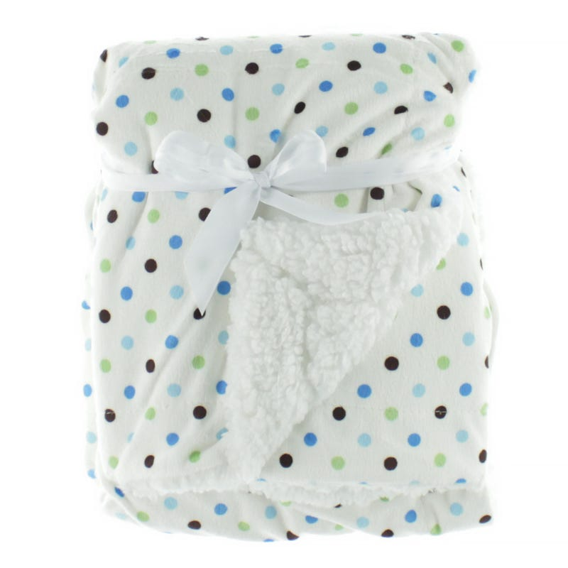 Blanket White Whith Blue Dots
