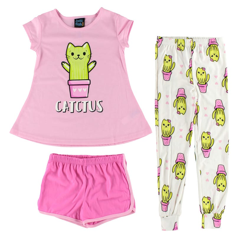 3 Pieces Pajama Pants and Shorts Set 4-16y - Catctus