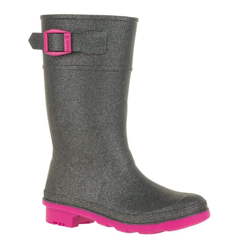 Glitzy Rain Boots Sizes 11-6 - Charbon