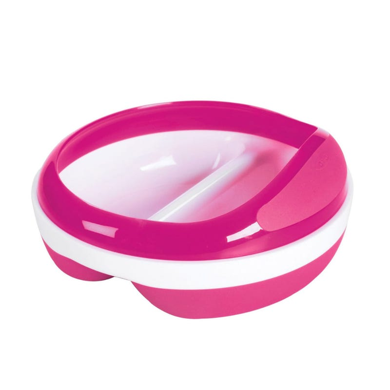 Divided Feeding Dish  With Removable Ring - Pink