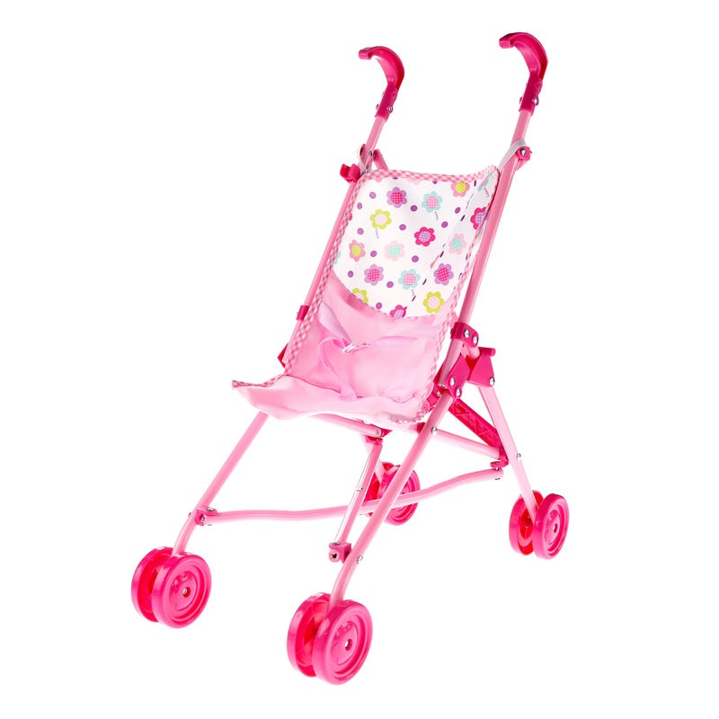 Doll Umbrella Stroller Flowers - Pink