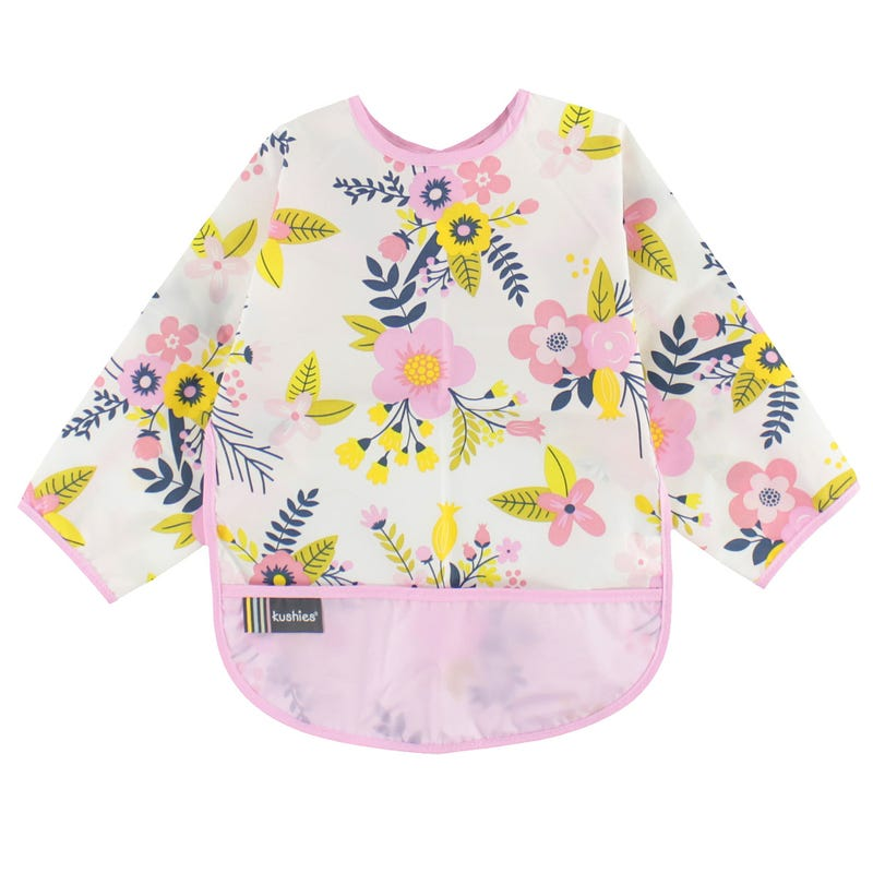 Pink Garden Long Sleeves Bib 12-24m