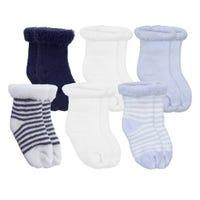 Terry Socks 6Pk Blue Newborn