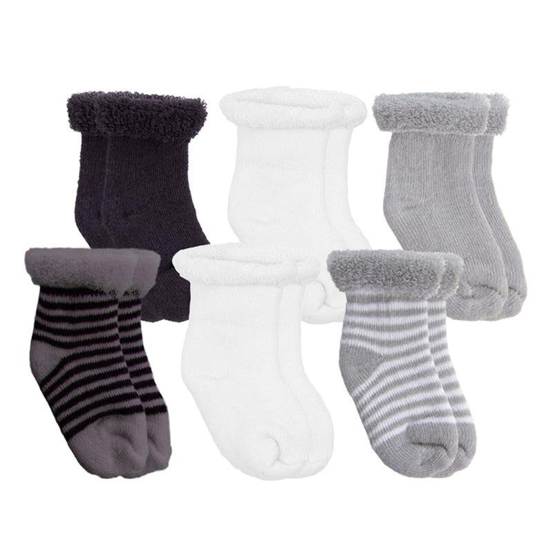 Terry Socks 6Pk Newborn - Black