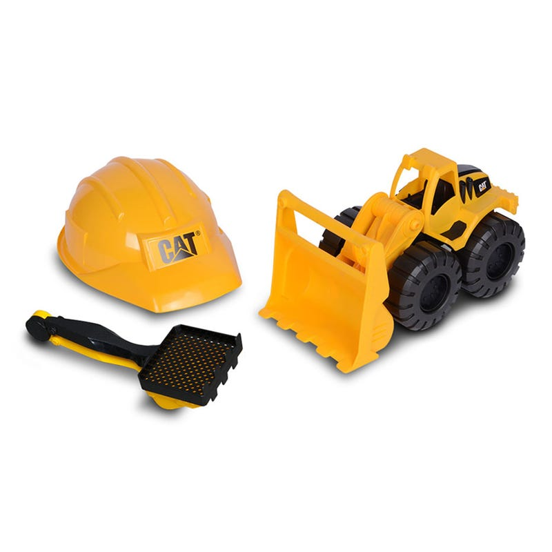 Helmet and Loader Truck On Wheels Set - Yellow