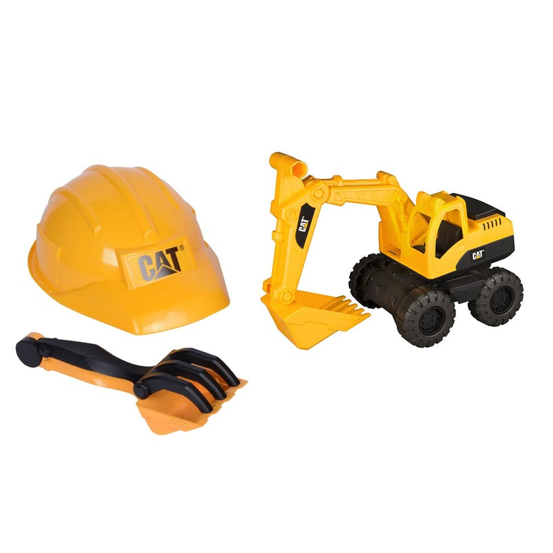 Helmet And Excavator Truck Set - Yellow