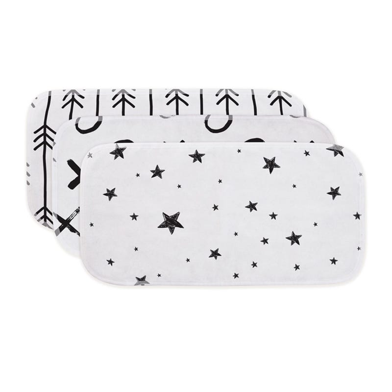 Burp Pads stars set of 3 Black/White
