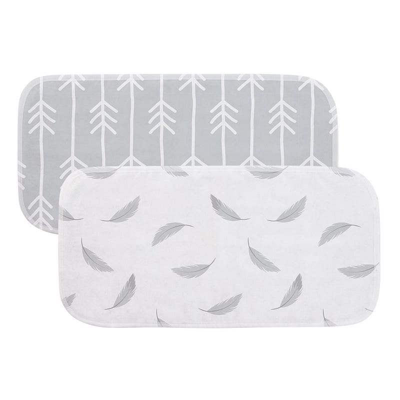 Flannel Burp Pads 2-Pack - Grey Prints