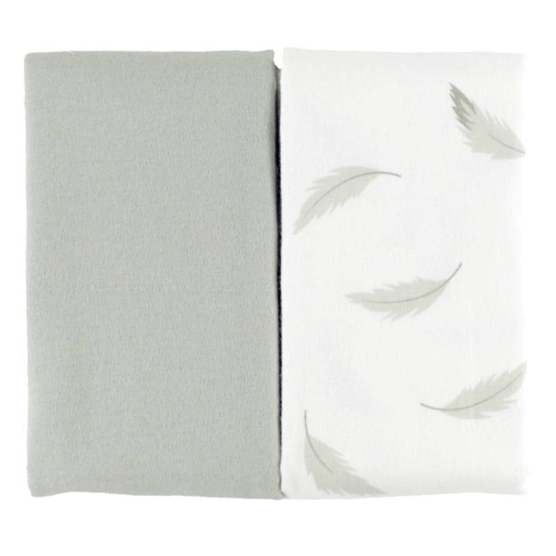 Blanket set of 2 - Gray Feathers