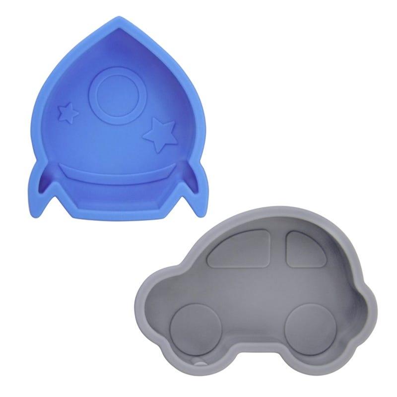 Car and Rocket Bowls Set of 2 - Blue/Gray