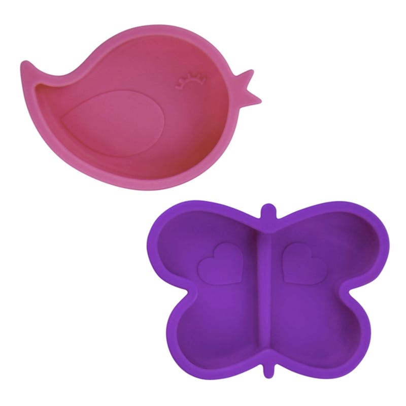 Butterfly and Bird Bowls Set of 2 - Pink/Purple