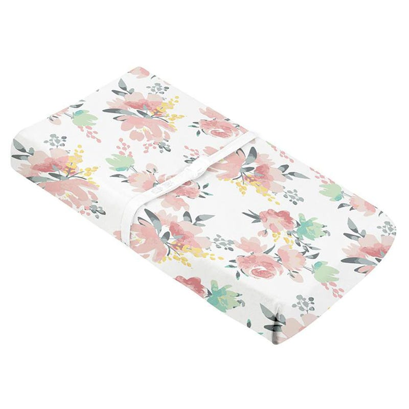 Percale Changing Pad Cover - Watercolour Flowers