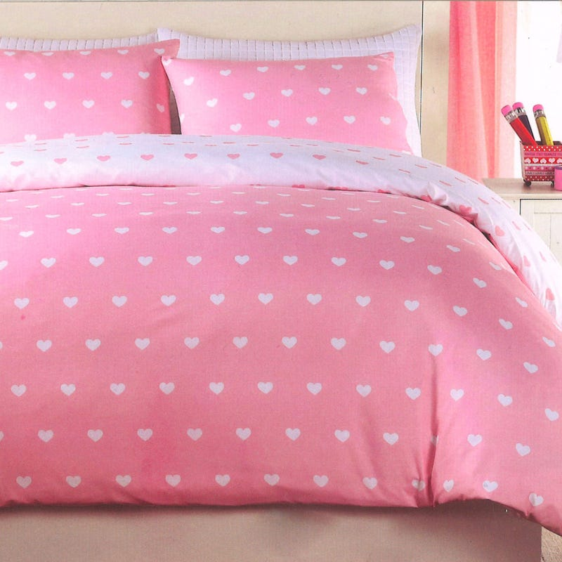 Housse Lit Simple - Coeur Rose