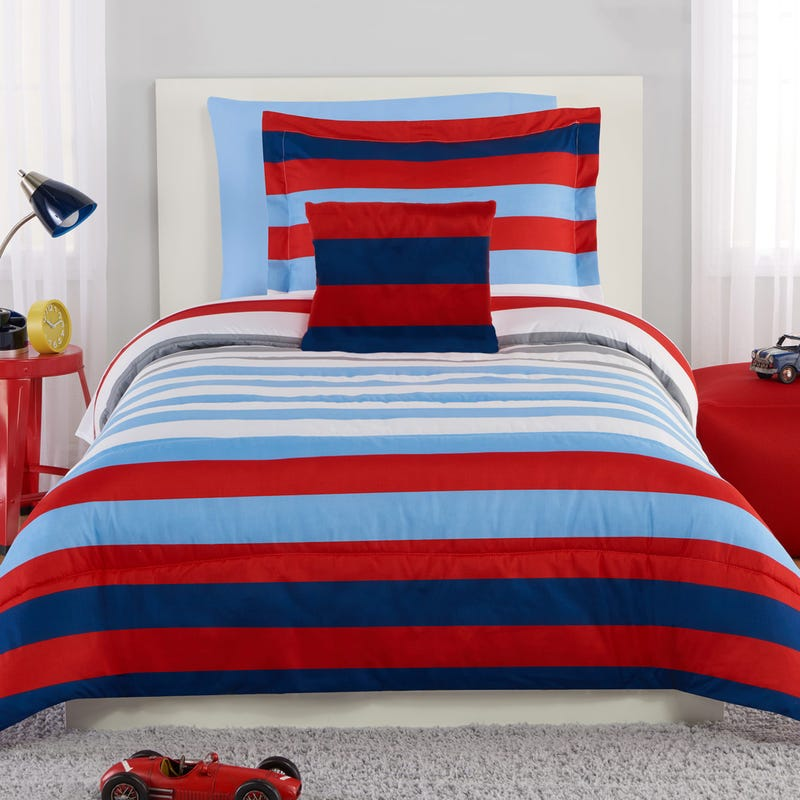 3-Pieces Striped Twin Comforter Set