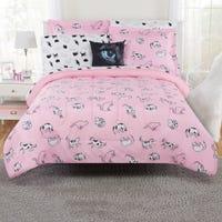 Cat 8-Pieces Double Comforter Set - Pink
