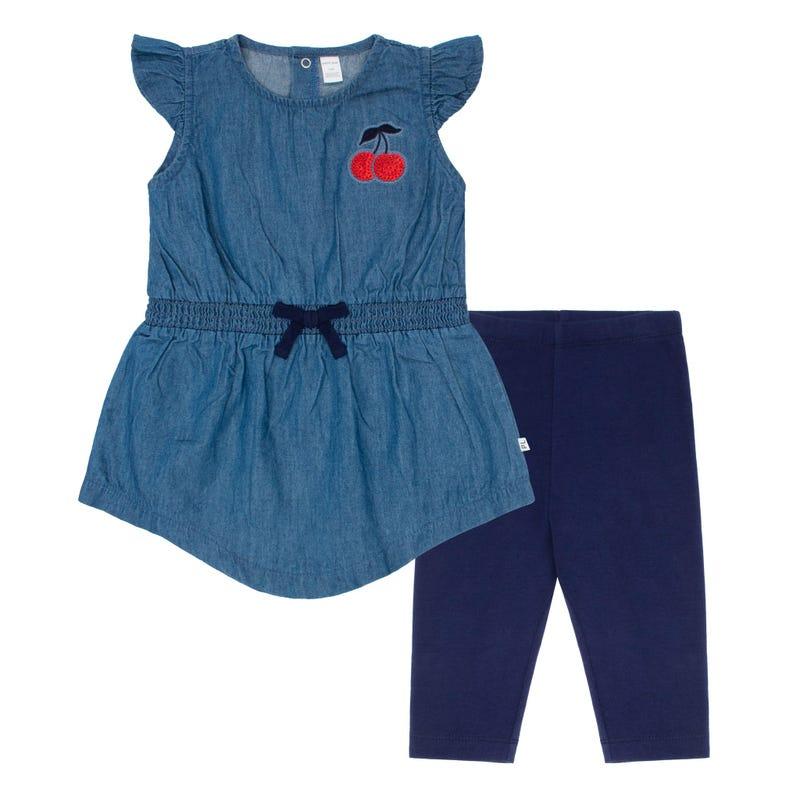 Cherry Denim Dress 3-24m