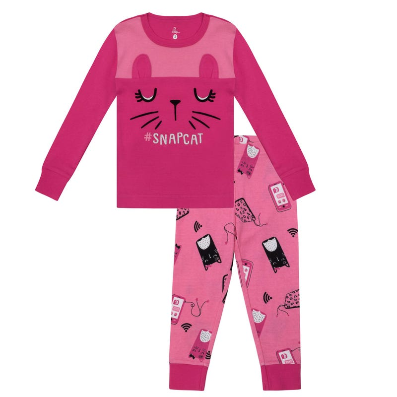 Snap cat pajamas 8-14