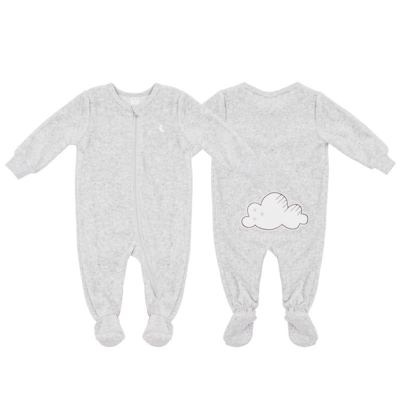 Grey Velvet Pajamas 0-24m