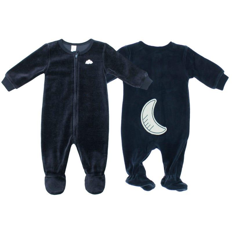 Pyjama Velours marine 0-24m