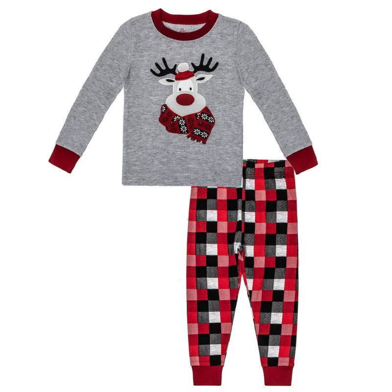 Plaid Reindeer Pajamas 2-7