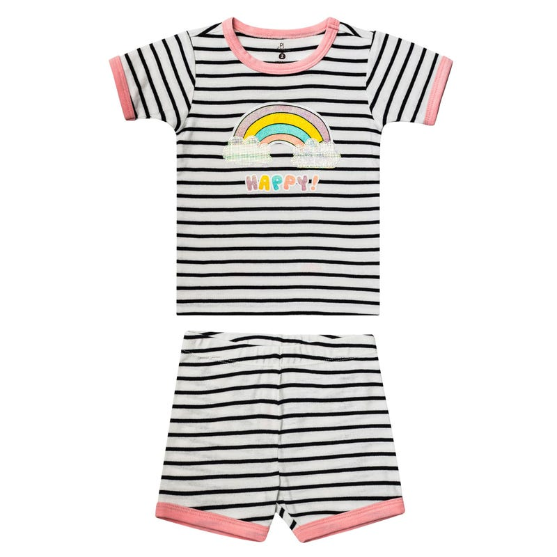 Unicorn Striped Short Pajama Set 2-6y