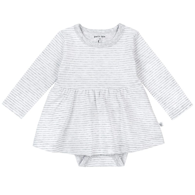 Striped Long Sleeve Bodysuit 0-24m - Gray