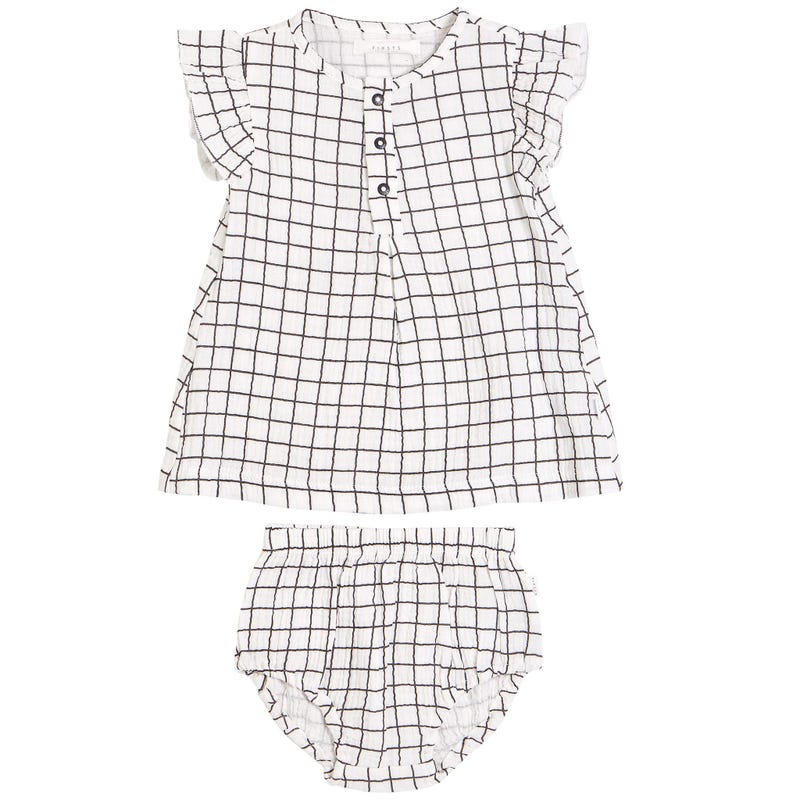 Peaches Window Pane Dress6-24m