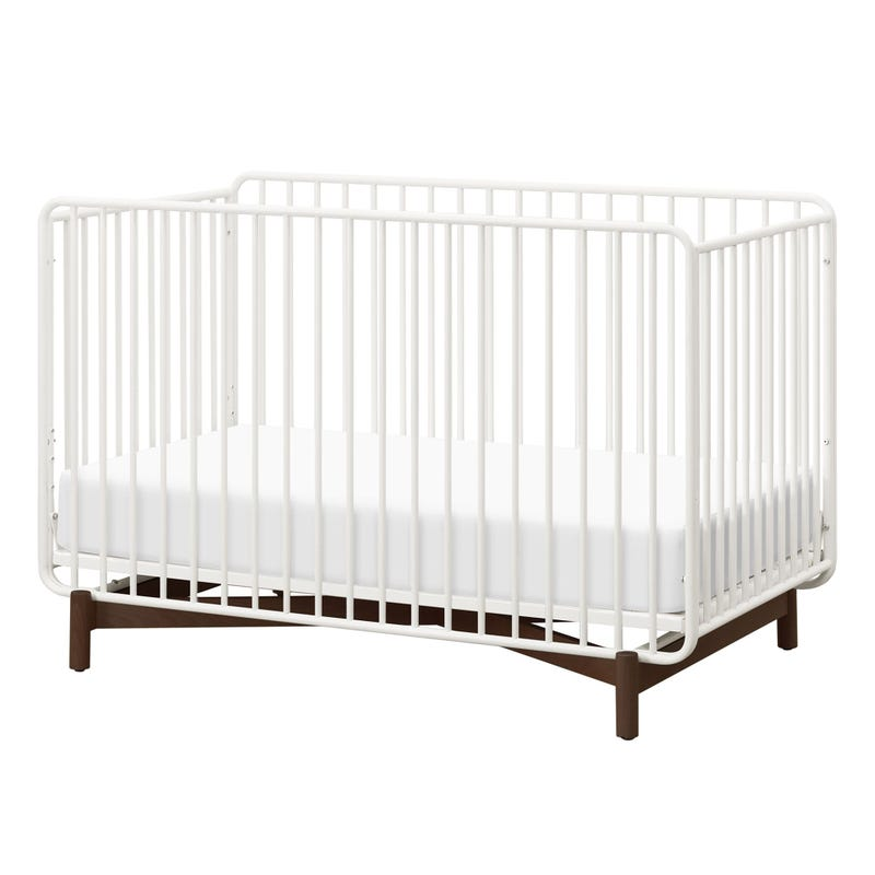 Bixby Metal Crib with Toddler Bed Conversion Kit - Warm White / Walnut Stain