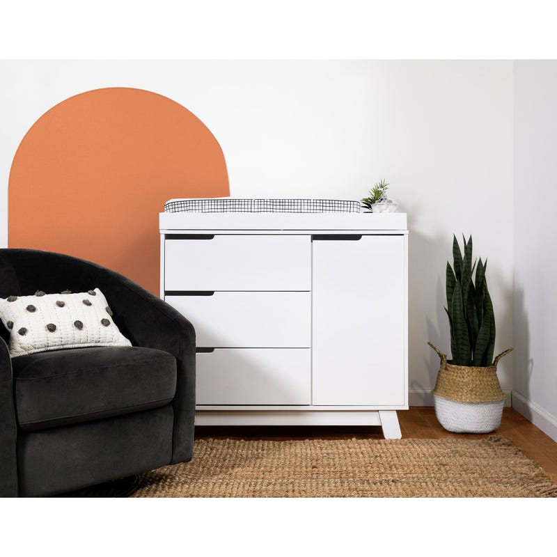 Hudson 3-Drawer Changer Dresser with Removable Changing Tray - White