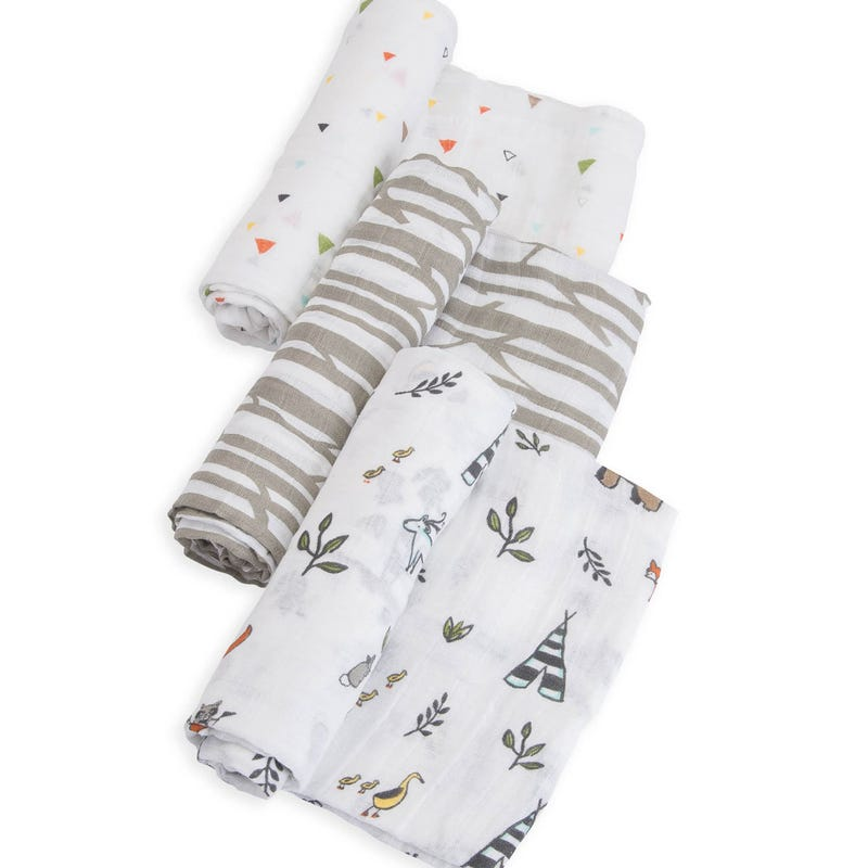 Cotton Muslin Swaddle Blanket Set of 3 - Forest Friends