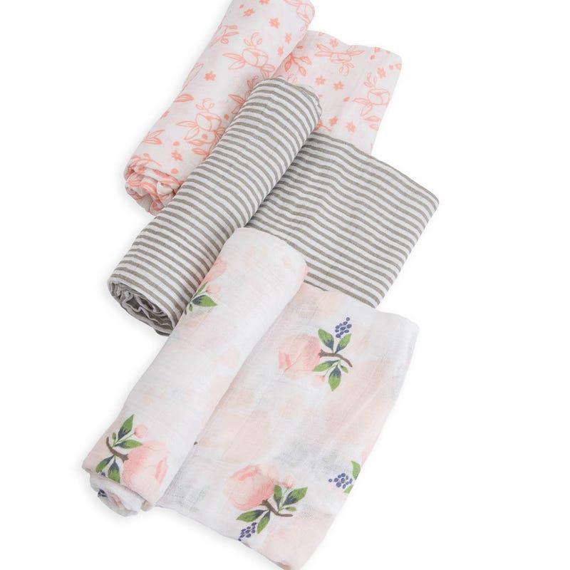 Cotton Muslin Swaddle Blanket Set of 3 - Watercolor Roses