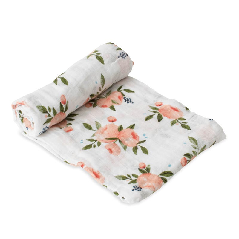 Cotton Muslin Swaddle - Roses