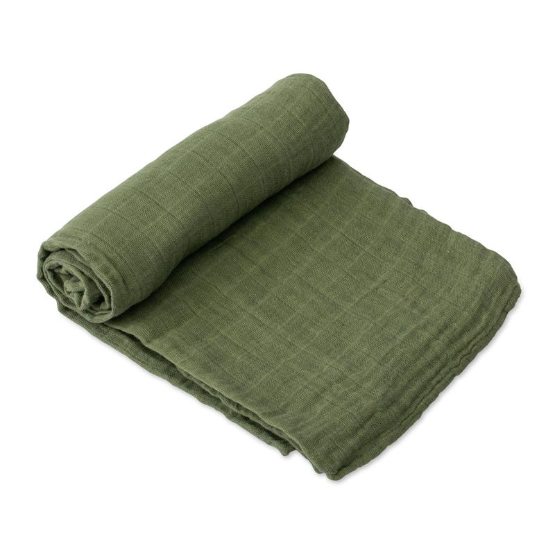 Cotton Muslin Swaddle - Khaki Green
