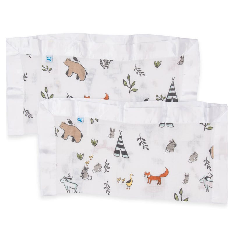 Cotton Muslin Security Blankets Set of 2 - Forest Friends