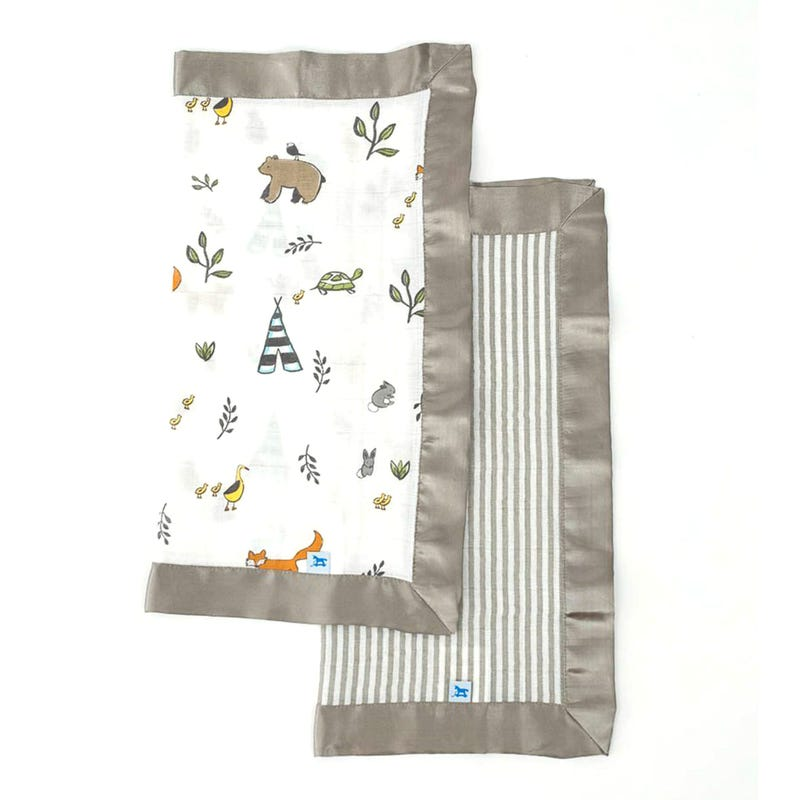 Cotton Muslin Security Blankets Set of 2 - Forest Friends/Gray Stripe