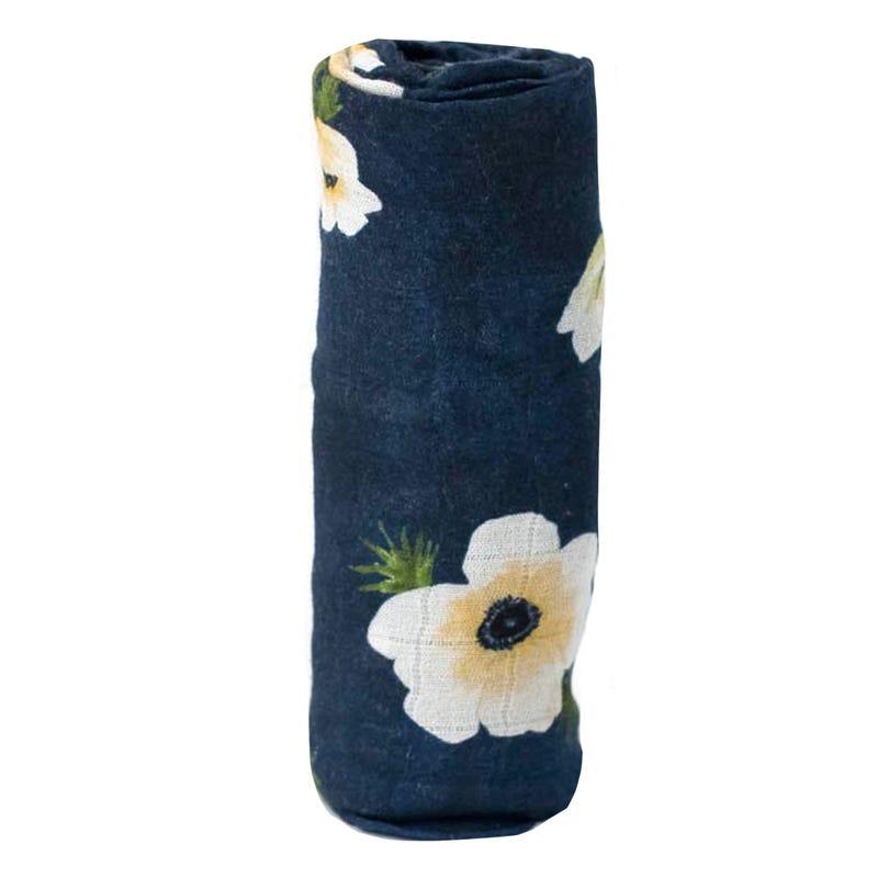 Couverture Mousseline Bambou - Marine Fleur