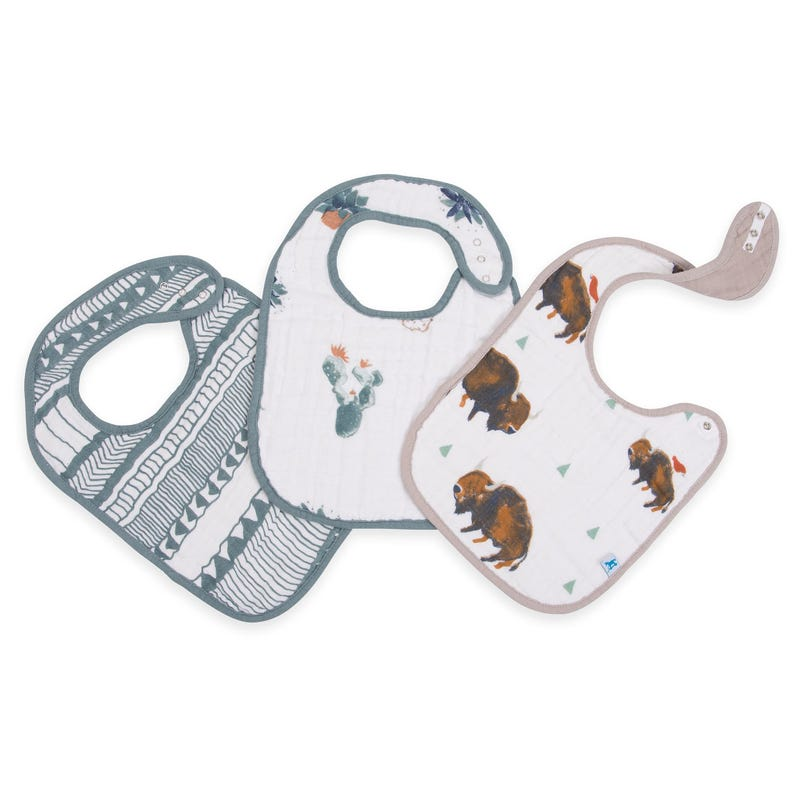 Cotton Muslin Classic Bibs Set of 3 - Bison