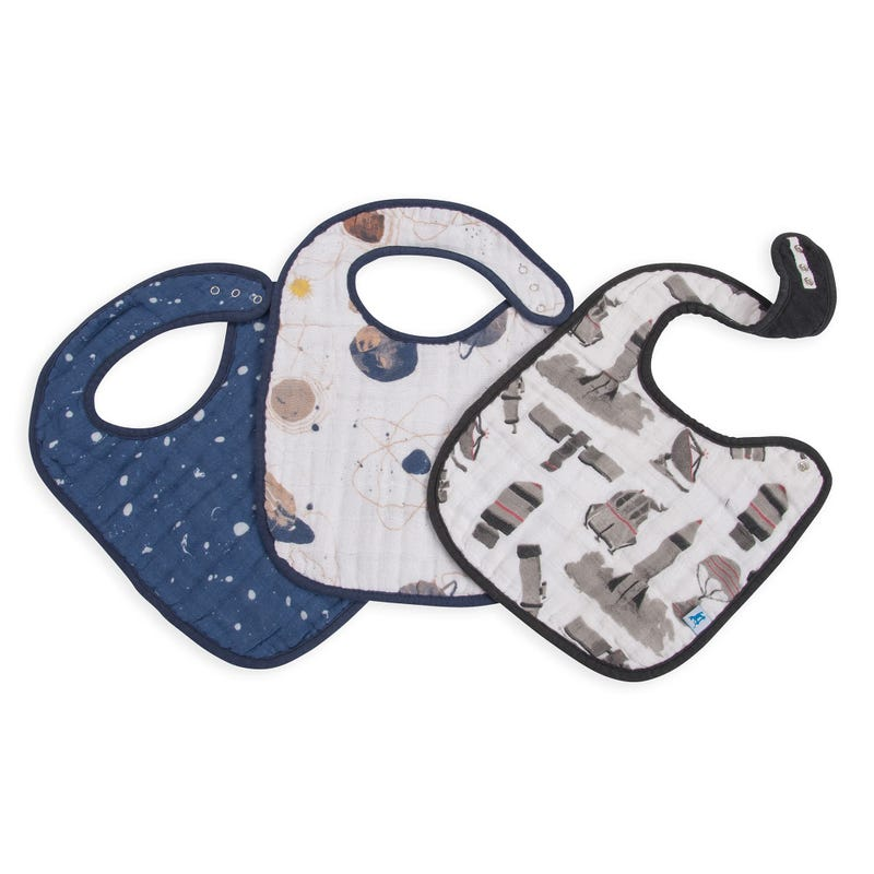 Cotton Muslin Classic Bibs Set of 3 - Planetary